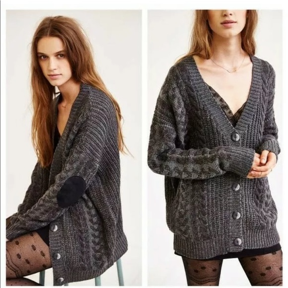 Olive & Oak Sweaters - Olive & Oak Elbow Patch Cardigan Urban Outfitters